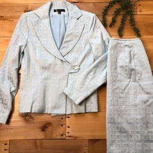 Larry Levine baby blue skirt suit set size 6